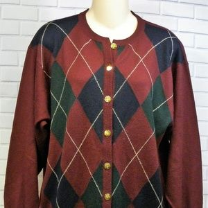 Pringle Dark Red Argyle Wool Gold Button Small